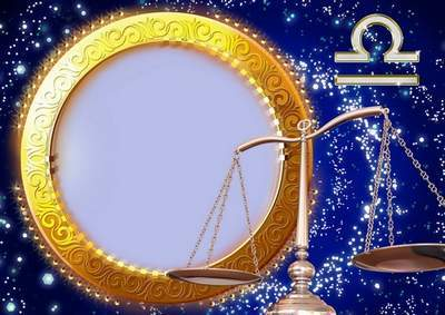 Frame for photoshop - Charming zodiac signs. Scales