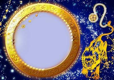 Frame for photoshop - Charming zodiac signs. Lion