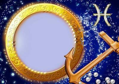Frame for photoshop - Charming zodiac signs. Fishes