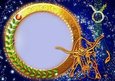 Frame for photoshop - Charming zodiac signs. Taurus