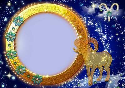 Frame for photoshop - Charming zodiac signs. Aries