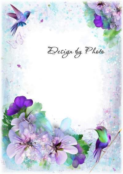 Spring - Photo frame PSD template with beautiful flowers and birds
