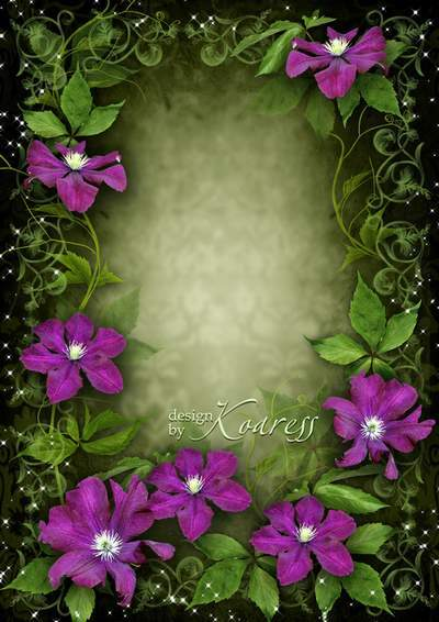 Romantic frame for Photoshop - Bright flowers