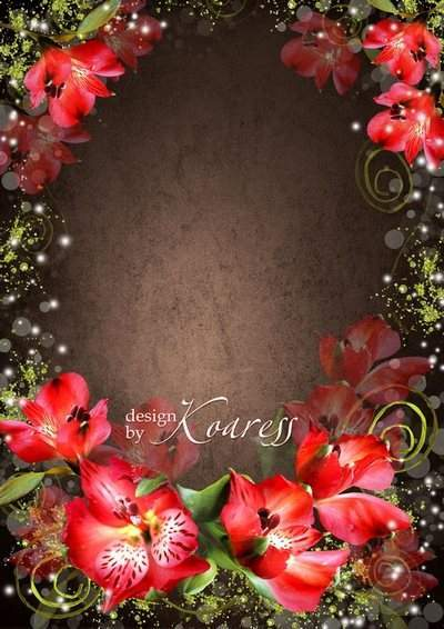 Romantic frame for Photoshop - Beautiful flowers