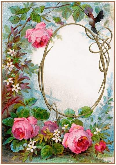 Vintage frame with roses and birds
