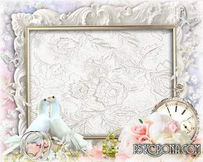 Romantic frame with flowers, champagne and overhangs - Two candles