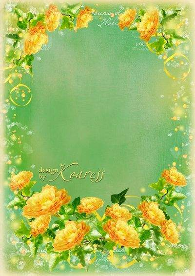 Romantic frame for Photoshop with yellow flowers - Sunny, summer mood