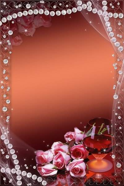 Romantic frame for Photoshop - Pearls and pink roses
