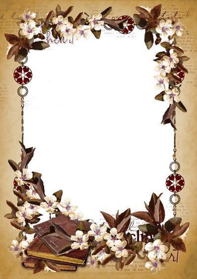 Romantic frame for Photoshop - Pages of the old novel