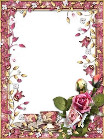 Romantic frame - I invite you to tea, fragrant, hot, sweet