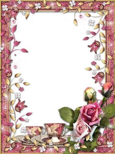 Romantic frame - I invite you to tea, fragrant, hot, sweet