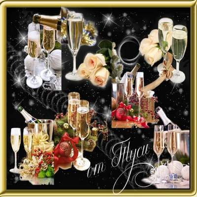 Clip Art - Night of happiness, champagne and flowers