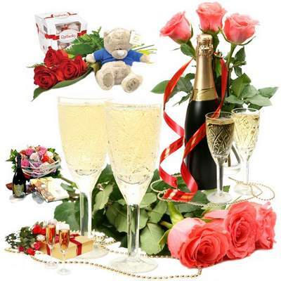 Free psd Clip Art - Night of happiness, champagne and flowers - 4