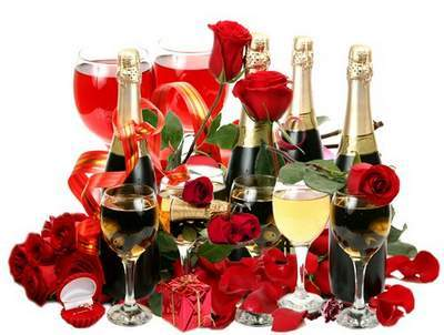 Clip Art - Night of happiness, champagne and flowers - 3