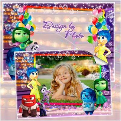 Photo frame template PSD + PNG formats for children's photo with cartoon characters Puzzle