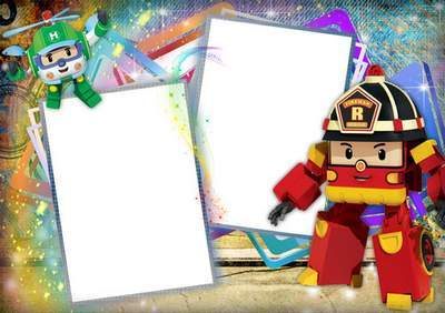 Template children's picture frame for boy with Heroes of Robocar Poly - multilayer PSD + 3 PNG Frames