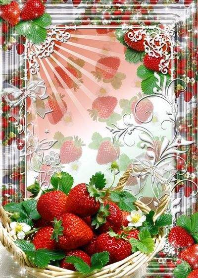 Year frame for Photoshop - a Friends, strawberries to regale all You
