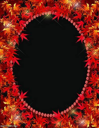 Frame for Photoshop -Crimson leaves of maple
