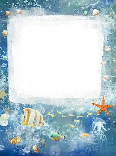 Sea frame with colorful exotic fish