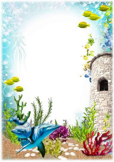 Children photo frame for your baby - fabulous underwater world