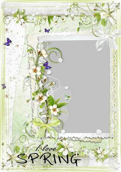 Spring frame multilayer PSD Template for Photoshop - I love spring