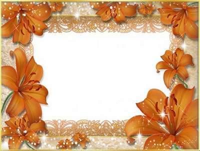 Рамка для фото - Оранжевые лилии