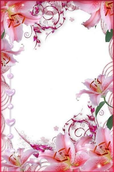 Рамка для фото - Розовые лилии