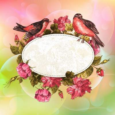 Multi-layer PSD source for creating greeting cards and photo processing - Flowers and birds