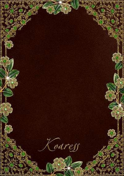 Photo frame - Gold frame, flowers and emeralds