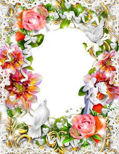 Wedding photo frame with doves and wedding rings-Wite doves, the birds love!