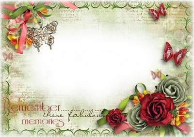 Vintage Photoshop frame PSD template with flowers and butterflies - Remember Memories
