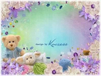 Children photo frame for girls - multilayer PSD Template