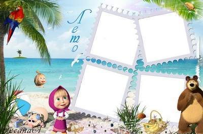 Frame for 4 photos - Hello Sea. This is me - Masha.