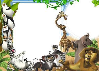 Children's frame with the heroes of the cartoon Madagascar - Funny inhabitants of the island