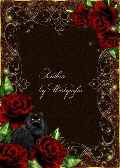 Frame for Photoshop - Roses and a black cat