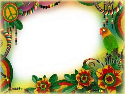 Journey to Brazil - Bright Photo Frame PSD Tempate with Parrot