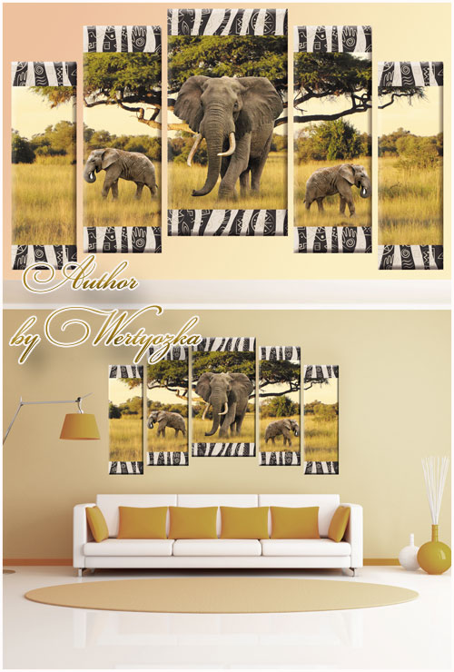 Psd source polyptych - Elephants have a large tree