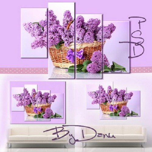 Polyptych, the PSD file for photoshop - I love the delicate scent of the lilac