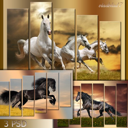 PSD sources Polyptych - Horse jumps