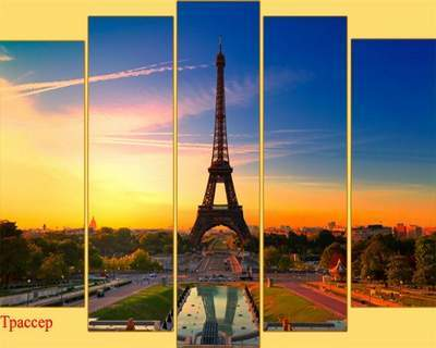 Polyptych in PSD format - Sunrise in the city