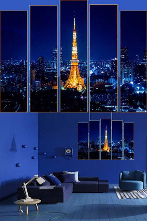Polyptych in PSD format - night city