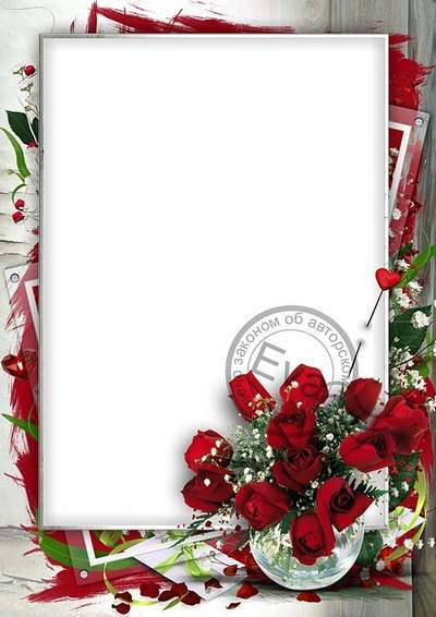 Photo frame - Chic roses - PSD + 3 PNG Files