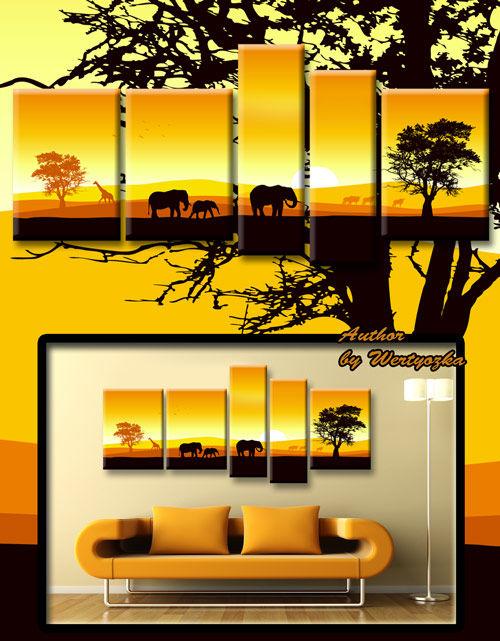 Polyptych in psd format - Landscape, savanna elephants, giraffes, painting