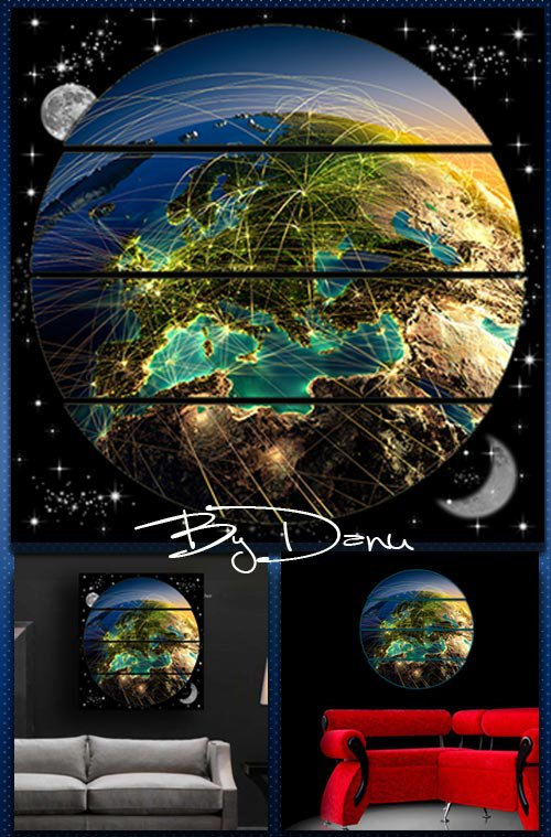 Polyptych in PSD format - In the porthole is Planet Earth