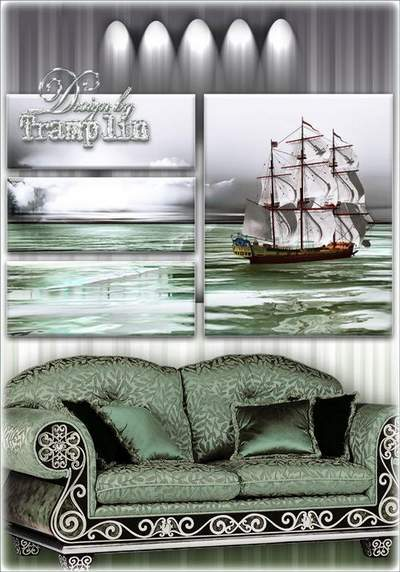 Polyptych - White sailboat