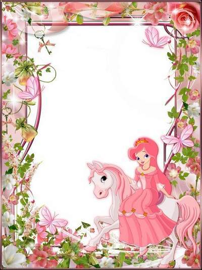 Photo frame for children photo girls - Princess and Pony - PSD + PNG Frame
