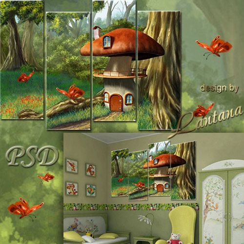 Polyptych Nursery in PSD - Fairy mushroom