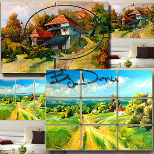 Two polyptych in PSD format - Landscapes on oil canvas
