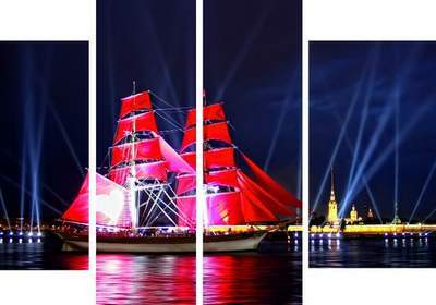 Polyptych in PSD format - Red Sails