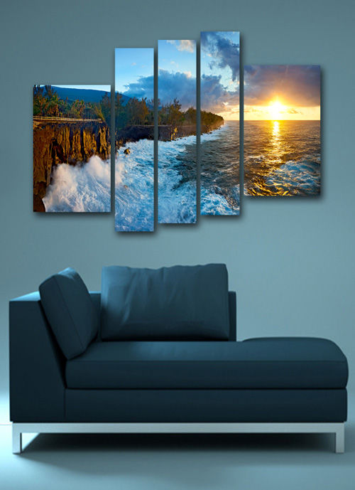 Polyptych in psd format - Charming sunrise at sea